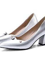 Недорогие -Жен. Обувь Микроволокно Весна Туфли лодочки Обувь на каблуках На толстом каблуке Золотой / Серебряный / Винный