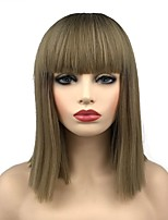 cheap -Synthetic Wig Straight Short Bob Synthetic Hair 16 inch Synthetic Dark Brown Gold Blonde Ombre Wig Women's Mid Length Capless Dark Brown / Golden Blonde