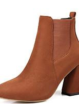 Недорогие -Жен. Обувь Замша Осень Удобная обувь / Модная обувь Ботинки На толстом каблуке Черный / Серый / Темно-русый