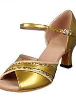 preiswerte -Damen Schuhe für den lateinamerikanischen Tanz PU Absätze Starke Ferse Tanzschuhe Gold / Silber