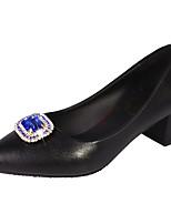 Недорогие -Жен. Полиуретан Лето Туфли лодочки Обувь на каблуках На толстом каблуке Заостренный носок Стразы Черный / Серебряный / Красный