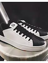 """Недорогие -Муж. Комфортная обувь Наппа Leather Весна / Осень Стиль """"Школьная форма"""" Кеды Контрастных цветов Черный / Черно-белый / Черный / Красный"""