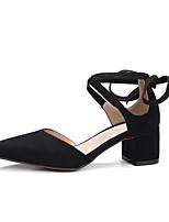 Недорогие -Жен. Замша Лето На каждый день Обувь на каблуках На толстом каблуке Черный / Розовый / Светло-коричневый