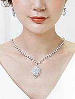 cheap -Women's Cubic Zirconia Stylish Jewelry Set - Fashion, Elegant Include Drop Earrings / Pendant Necklace White For Wedding / Evening Party