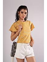 cheap -Women's T-shirt - Striped Lace up