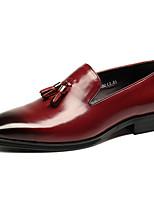 Недорогие -Муж. Кожаные ботинки Наппа Leather Весна / Лето Мокасины и Свитер Черный / Винный / С кисточками