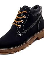 Недорогие -Жен. Армейские ботинки Замша Осень На каждый день Ботинки На низком каблуке Сапоги до середины икры Черный / Желтый