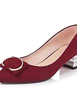 Недорогие -Жен. Комфортная обувь Замша Весна Обувь на каблуках На толстом каблуке Черный / Зеленый / Винный