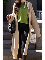 cheap -women's long sleeve long cardigan - solid colored v neck