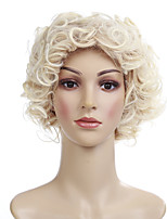 cheap -Synthetic Wig Curly Blonde Side Part Synthetic Hair 10 inch Women / African American Wig / With Bangs Blonde Wig Women's Short Capless Blonde