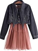 Недорогие -Дети Девочки Классический Школа Черный и красный Однотонный Длинный рукав Короткая Хлопок Набор одежды
