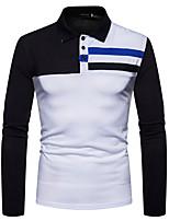 cheap -Men's Cotton Polo - Color Block Shirt Collar / Long Sleeve