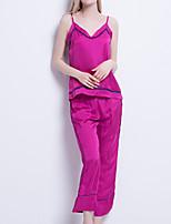 Недорогие -Жен. Глубокий V-образный вырез Шёлк и сатин Пижамы Однотонный