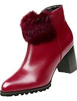 Недорогие -Жен. Fashion Boots Искусственный мех / Полиуретан Осень Минимализм Ботинки На толстом каблуке Заостренный носок Ботинки Черный / Винный