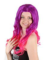 Недорогие -Парики из искусственных волос / Маскарадные парики Кудрявый Стрижка боб Искусственные волосы 30 дюймовый Аниме / Косплей / Женский Красный / Фиолетовый Парик Жен. Длинные Машинное плетение
