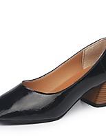 Недорогие -Жен. Полиуретан Лето Туфли лодочки Обувь на каблуках На толстом каблуке Квадратный носок Черный / Бежевый / Миндальный