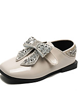 Недорогие -Девочки Обувь Кожа Наступила зима Детская праздничная обувь На плокой подошве Для прогулок Бант для Дети Черный / Бежевый / Розовый