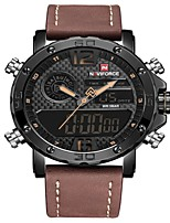cheap -NAVIFORCE Men's Sport Watch Dress Watch Japanese Japanese Quartz 30 m Water Resistant / Water Proof Alarm Calendar / date / day Genuine Leather Band Analog Digital Luxury Fashion Black / Brown -