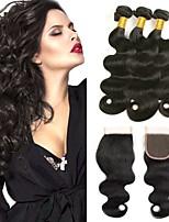 billiga -3 paket med stängning Indiskt hår / Afrikanska flätor Kroppsvågor Obehandlat / Äkta hår Human Hår vävar / Favör för Tebjudningar / Kostymaccessoarer 8-20 tum Hårförlängning av äkta hår 4x4 Stängning