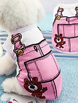 Недорогие -Собаки Футболка Одежда для собак Мультипликация Синий / Розовый Хлопок Костюм Для домашних животных Универсальные Праздник / Для отдыха