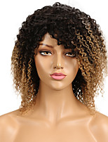 cheap -Remy Human Hair Lace Front Wig Brazilian Hair Kinky Curly Wig 130% Natural Hairline / With Bleached Knots Women's Mid Length Human Hair Lace Wig