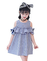 Недорогие -Дети Девочки Однотонный / Растения С короткими рукавами Платье