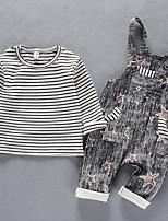 Недорогие -Дети Девочки Полоски / С принтом С короткими рукавами Набор одежды