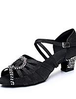 Недорогие -Жен. Обувь для латины Синтетика На каблуках Толстая каблук Танцевальная обувь Золотой / Черный