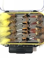Недорогие -30 pcs штук рыболовные крючки / Набор для рыбалки / Рыболовные принадлежности Мухи Перья / Углеродистая сталь Чехол в комплекте / Простая установка / Легкий и удобный