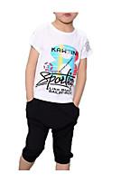 Недорогие -Дети Мальчики Однотонный / С принтом С короткими рукавами Набор одежды