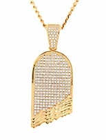 cheap -Men's Cubic Zirconia Stylish / Cuban Link Pendant Necklace / Chain Necklace - Skateboard Stylish, European, Hip-Hop Cool Gold, Silver 60 cm Necklace Jewelry 1pc For Street, Club