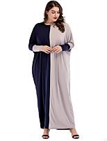 Недорогие -Жен. Классический С летящей юбкой Платье - Однотонный Макси Черное и белое