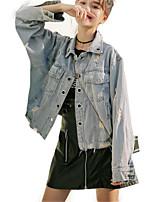 Недорогие -Жен. Джинсовая куртка Рубашечный воротник Однотонный