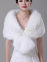 cheap -Sleeveless Faux Fur Wedding / Party / Evening Women's Wrap With Imitation Pearl / Stitching Lace Capelets
