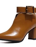 Недорогие -Жен. Обувь Полиуретан Лето Модная обувь Ботинки На толстом каблуке Заостренный носок Ботинки Черный / Бежевый / Коричневый