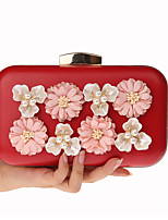 cheap -Women's Bags PU(Polyurethane) / Alloy Evening Bag Flower Black / Red / Blushing Pink