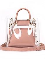 cheap -Women's Bags PVC(PolyVinyl Chloride) Tote Zipper Black / Blushing Pink / Khaki