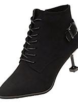 Недорогие -Жен. Fashion Boots Полиуретан Осень Минимализм Ботинки На каблуке-рюмочке Заостренный носок Ботинки Черный / Коричневый