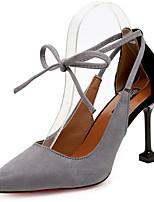 Недорогие -Жен. Strappy Stacked Heels Замша Лето Минимализм Обувь на каблуках На шпильке Заостренный носок Черный / Серый / Зеленый / Для вечеринки / ужина