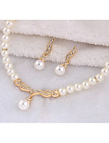 cheap -Women's Cubic Zirconia Stylish Jewelry Set - Pearl Creative Stylish, European Include Drop Earrings / Necklace Gold / Silver For Wedding / Daily