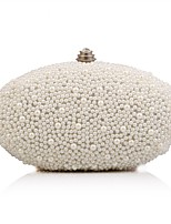 cheap -Women's Bags Polyester / Alloy Evening Bag Crystals / Pearls White / Beige