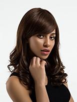 Недорогие -Человеческие волосы без парики Натуральные волосы Волнистый Боковая часть Природные волосы Темно-коричневый Без шапочки-основы Парик Жен. Повседневные