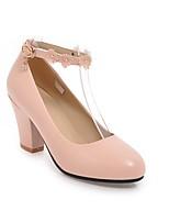 Недорогие -Жен. Обувь Полиуретан Весна лето Удобная обувь Обувь на каблуках На толстом каблуке Черный / Бежевый / Розовый