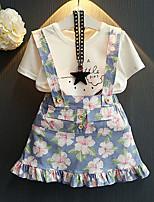 Недорогие -Дети Девочки С принтом / Мультипликация С короткими рукавами Набор одежды