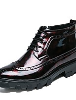 cheap -Men's Combat Boots Patent Leather Winter Boots Black / Red
