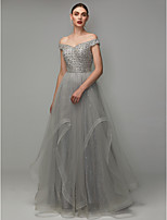 cheap -A-Line Off Shoulder Floor Length Lace / Tulle Formal Evening Dress with Beading by TS Couture®