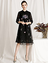 cheap -Women's Vintage / Basic A Line Dress - Floral Lace / Embroidered