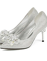 baratos -Mulheres Sapatos Confortáveis Microfibra Verão Saltos Salto Agulha Dourado / Preto / Prata / Diário