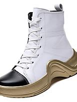 Недорогие -Жен. Армейские ботинки Полиуретан Осень Минимализм Ботинки На низком каблуке Сапоги до середины икры Белый / Черный