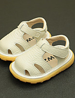 cheap -Boys' / Girls' Shoes Cowhide Summer First Walkers Sandals Magic Tape for Baby White / Yellow / Pink